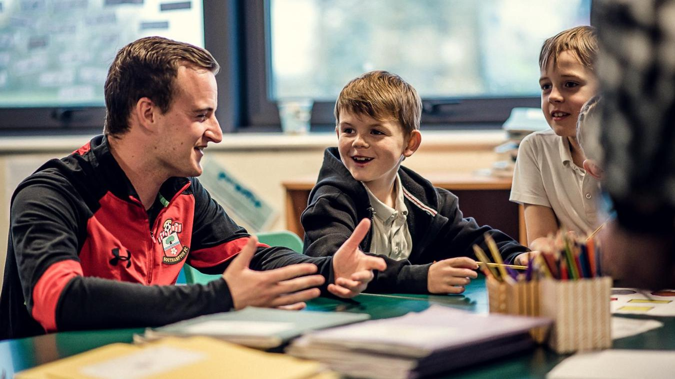 Ed Kilby from Southampton's Saints Foundation delivers lessons in a local school as part of a new initiative with Premier League Primary Stars
