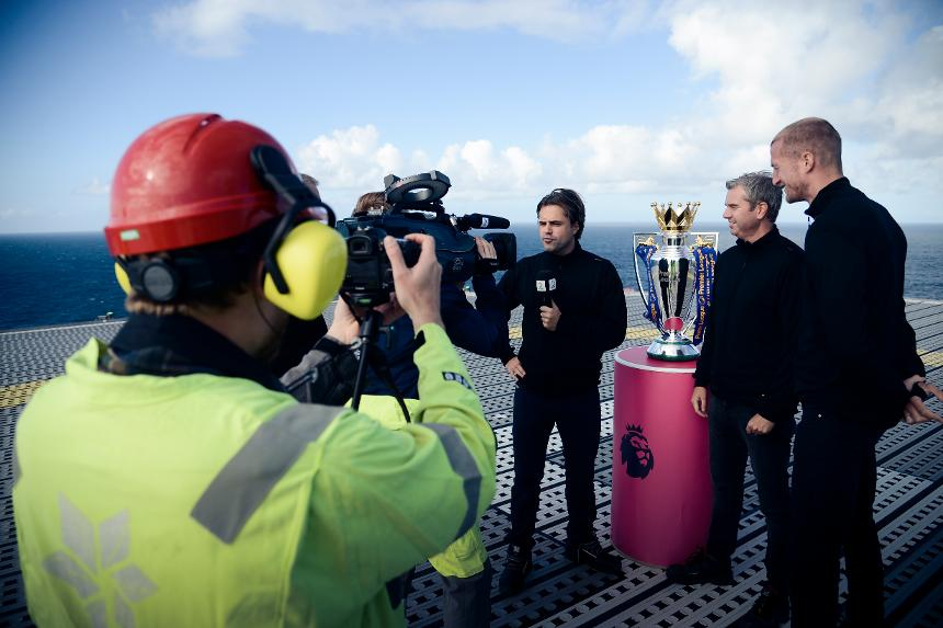 TV2 Norway produced a live broadcast of Liverpool versus Hull City from a gas rig in the North Sea