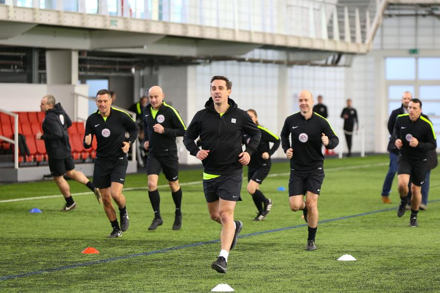 Sky Sports' Gary Neville is put through the paces during a Select Group match officials training session