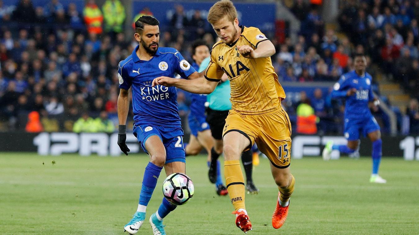 Tottenham Hotspur's Eric Dier and Leicester City's Riyad Mahrez