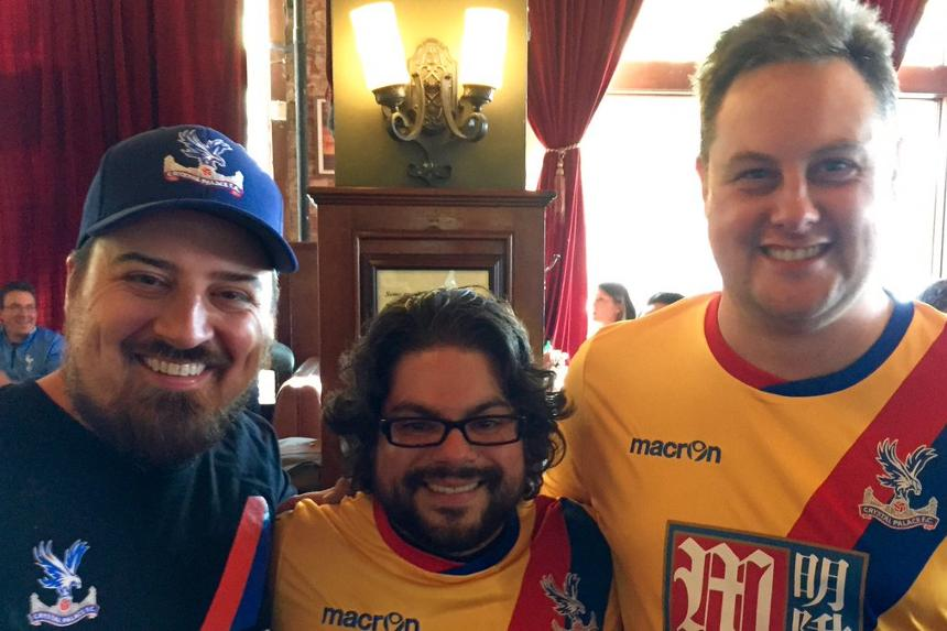 Ian Van Mater (pictured left) watches Premier League matches with the Colorado Palace supporters club in USA
