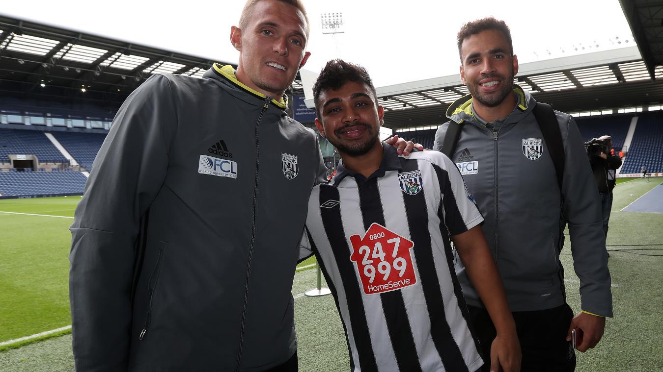 Indian West Bromwich Albion fan Debanjan Banerjee, met Darren Fletcher and Hal Robson-Kanu at The Hawthorns