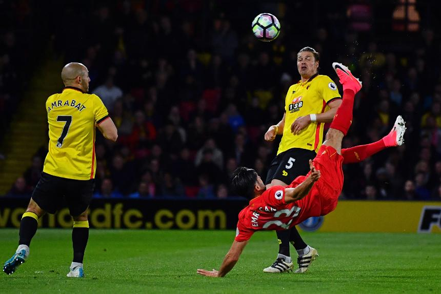 Emre Can's acrobatic goal against Watford earned the Liverpool midfielder the EA SPORTS Goal of the Season award