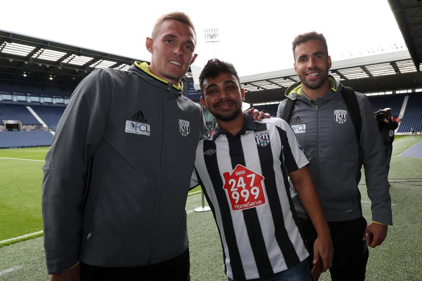 Indian West Bromwich Albion fan Debanjan Banerjee, met Darren Fletcher and Hal Robson-Kanu at The Hawthorns