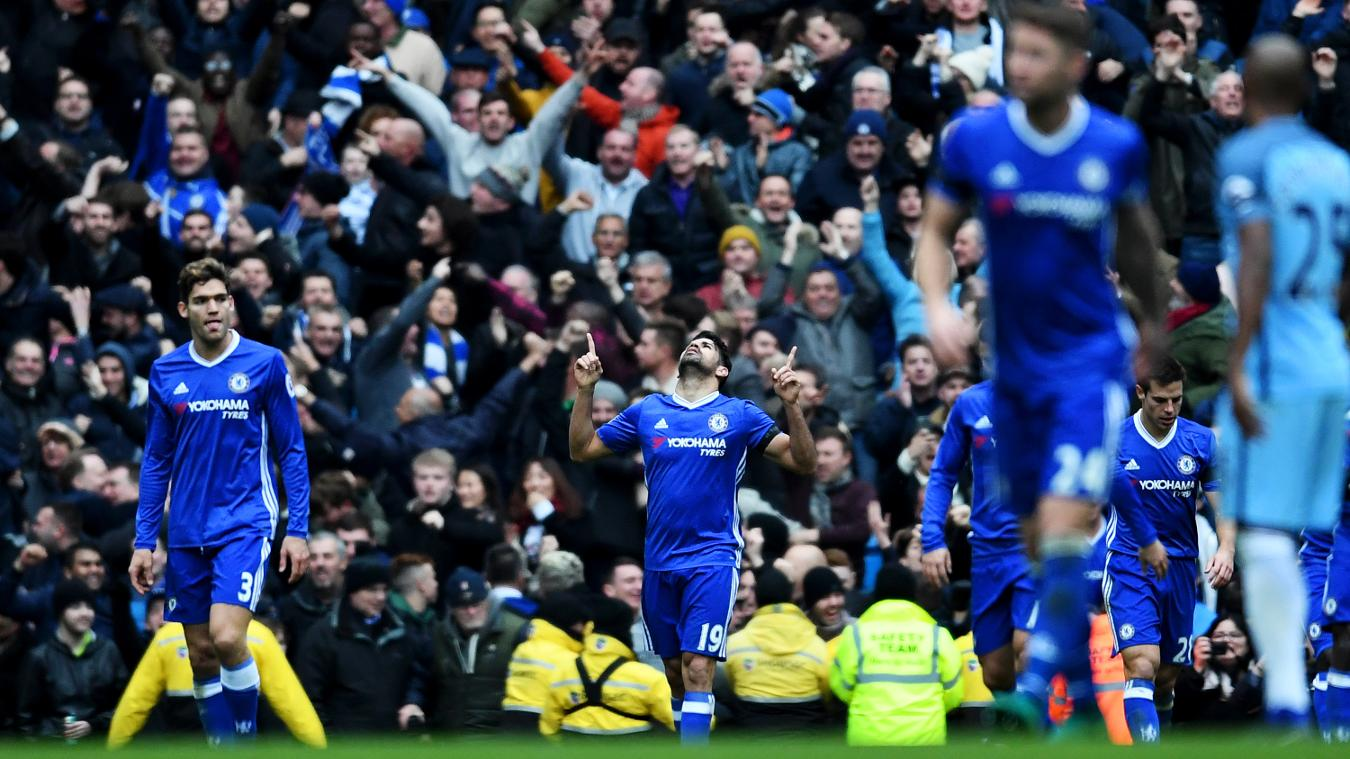 Diego Costa reacts after scoring in front of the Chelsea fans