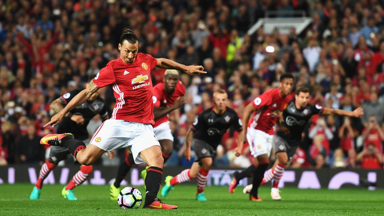 Zlatan Ibrahimovic scoring a penalty against the Saints for Man Utd