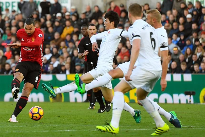 Zlatan Ibrahimovic scored the 25,000th Premier League with his first strike away to Swansea City