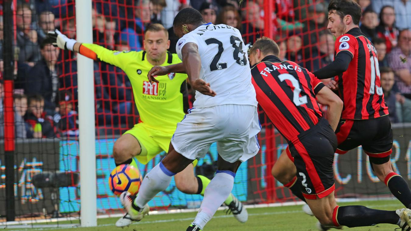 Artur Boruc rushes out as Victor Anichebe takes a shot
