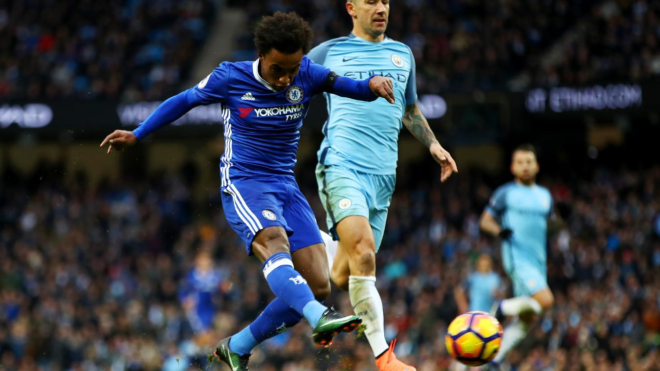 Willian was one of the three Chelsea players to net against Man City