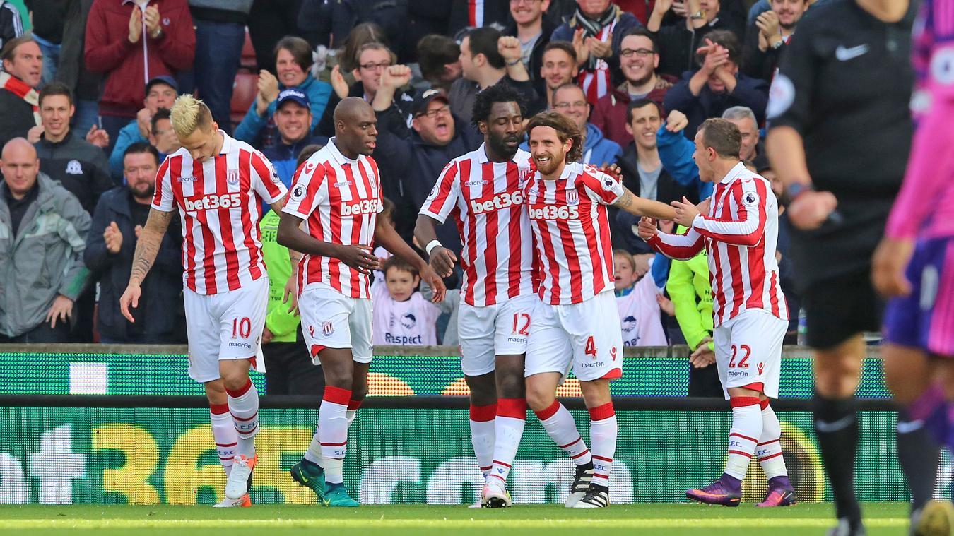 Stoke City celebrate their 2-0 victory over Sunderland