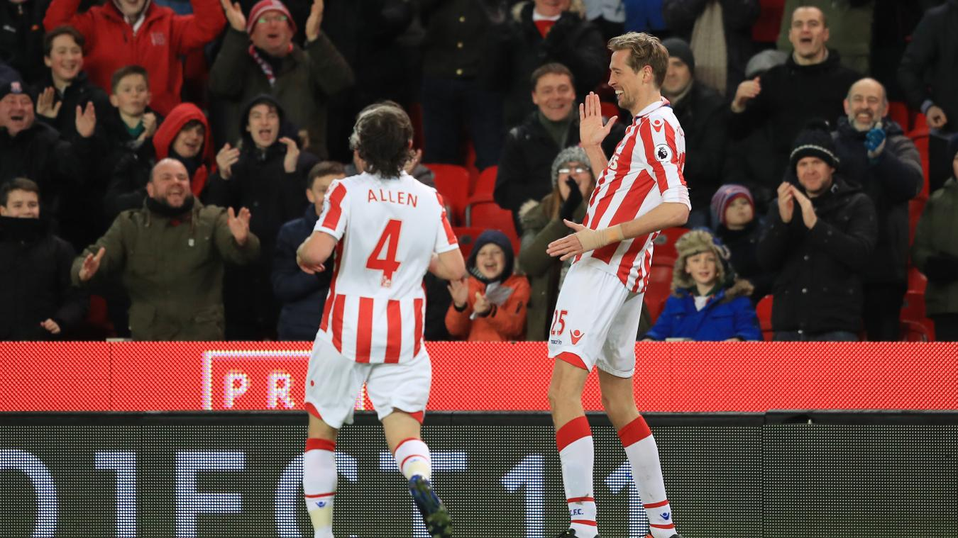 Peter Crouch marks his 100th Premier League goal with his classic 'robot' celebration