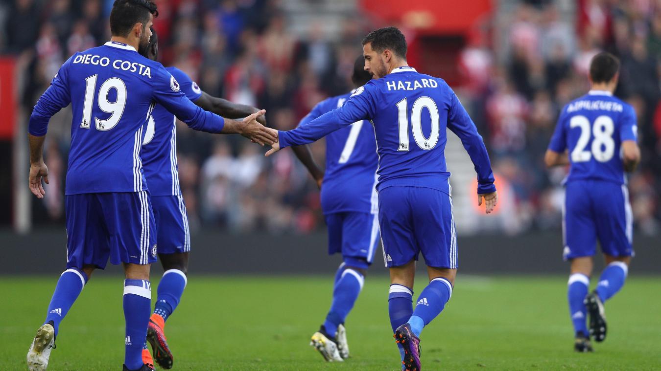 Diego Costa and Eden Hazard high five after Chelsea make it 2-0 versus Southampton