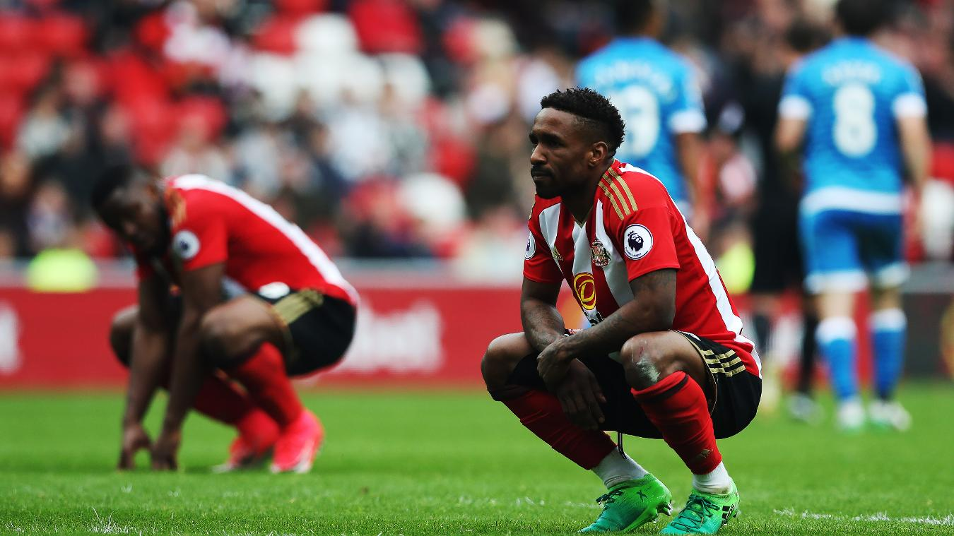 Jermain Defoe looks disappointed after Sunderland were relegated from the Premier League following defeat to AFC Bournemouth