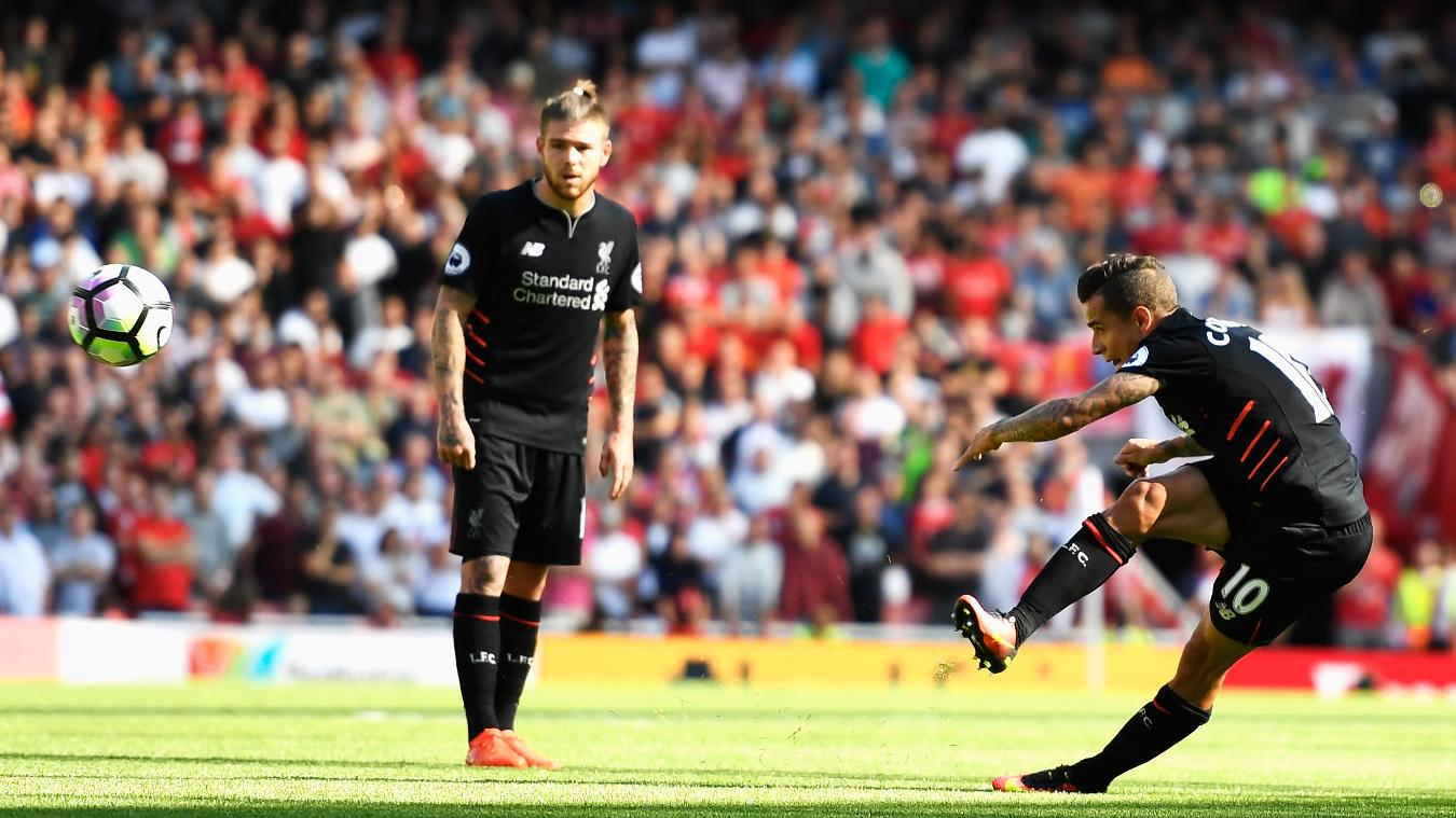 Coutinho scores the equaliser versus Arsenal before half-time