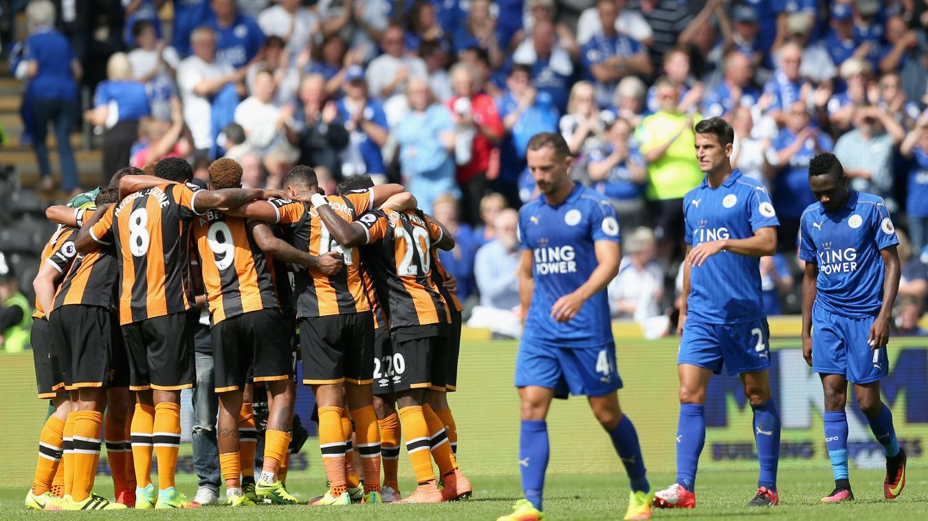 The Hull players huddle prior to their first match of the Premier League season