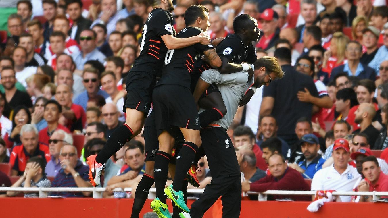 Sadio Mane celebrates scoring the winner at Emirates Stadium