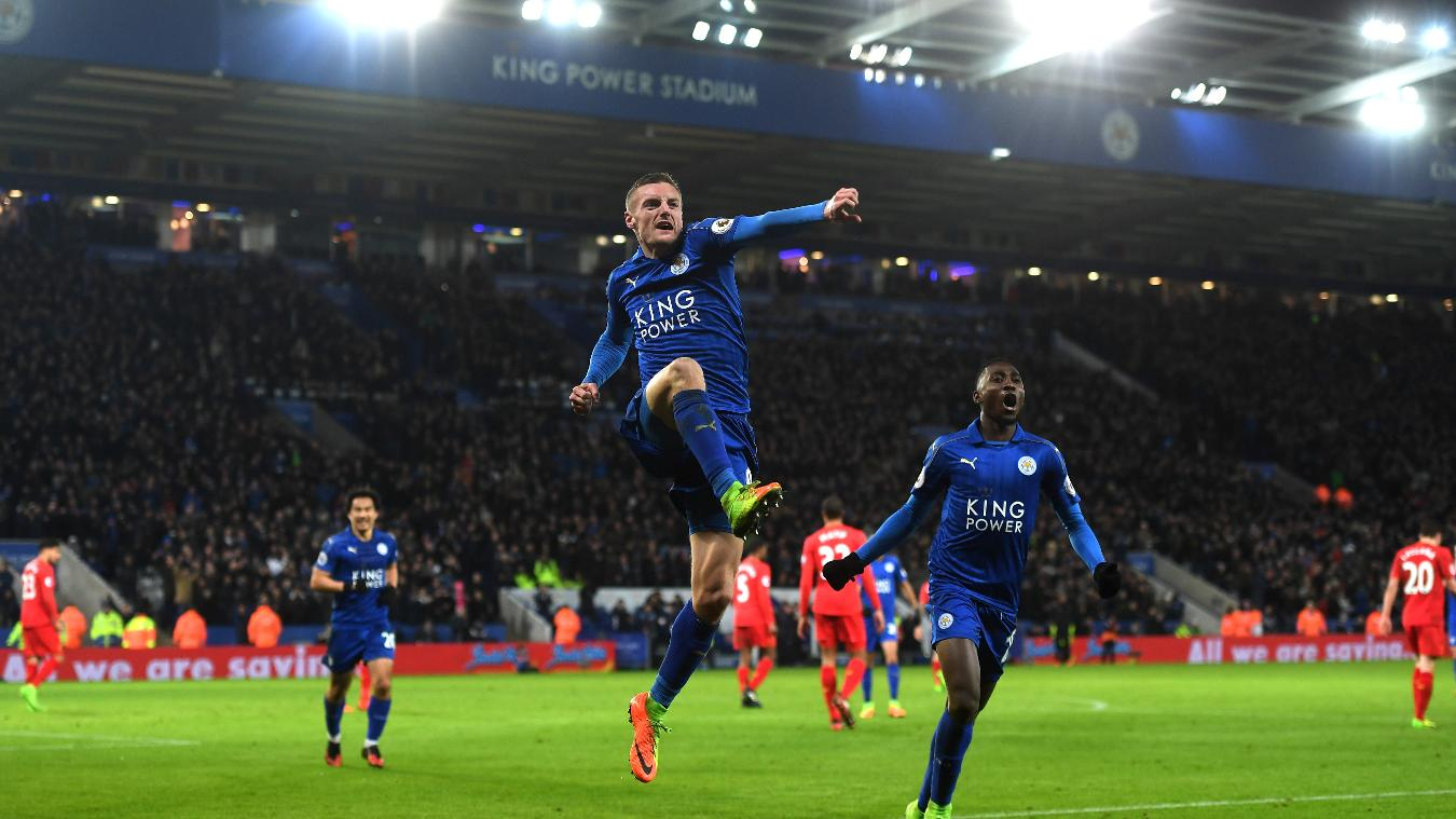 Jamie Vardy celebrating his goal in Leicester's victory over Liverpool