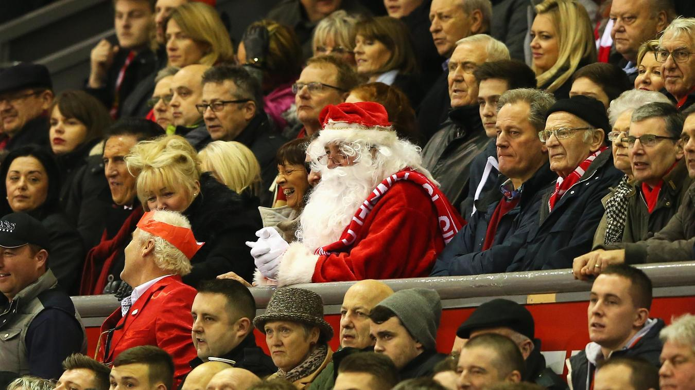 Father Christmas attends Liverpool v Arsenal