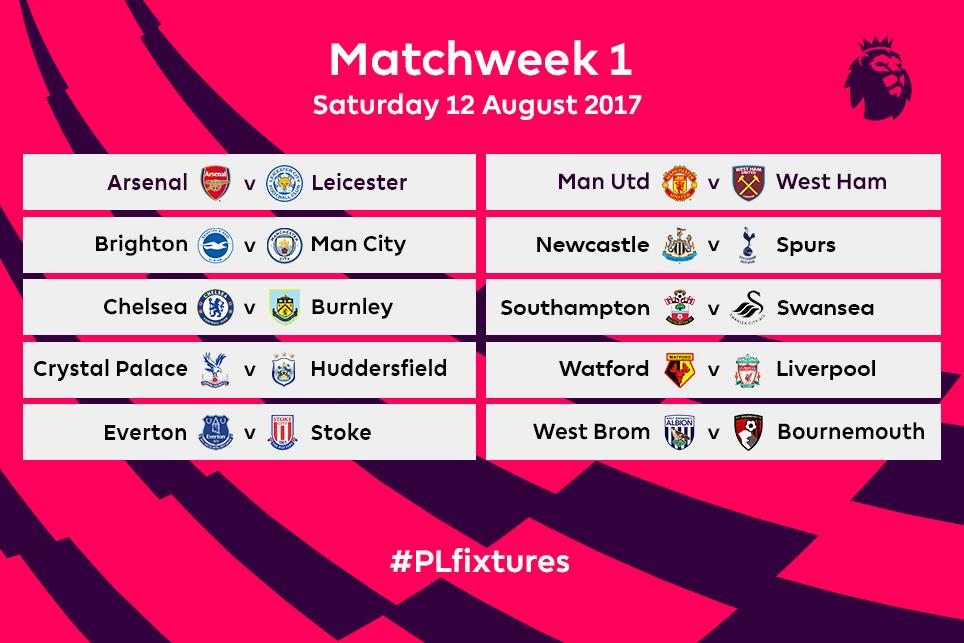 Premier League fixtures for 2017/18 released