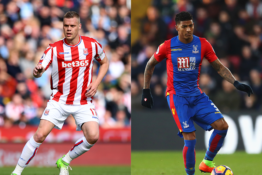 Ryan Shawcross of Stoke City and Patrick van Aanholt of Crystal Palace