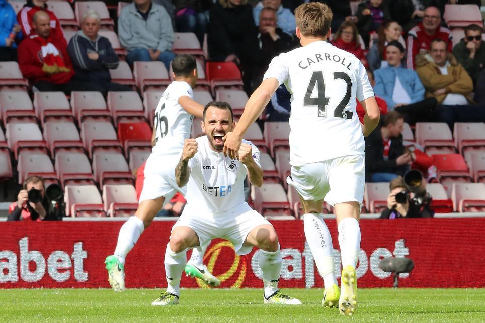 Leon Britton celebrates Swansea scoring