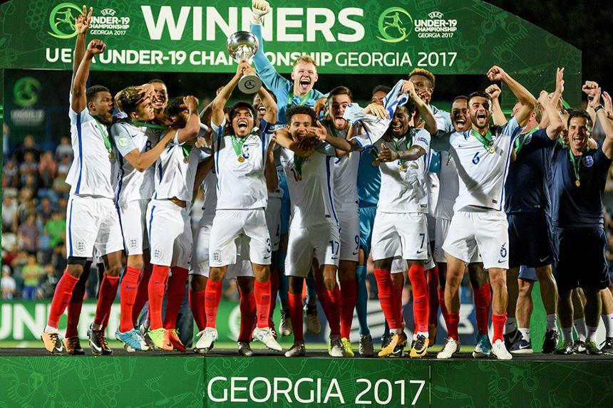 England celebrate winning UEFA U19 European Championship