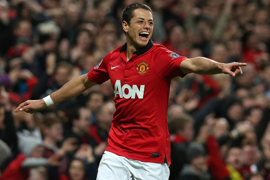 Javier Hernandez celebrates scoring for Manchester United