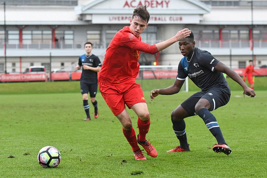Liverpool in U18 Premier League action against Derby