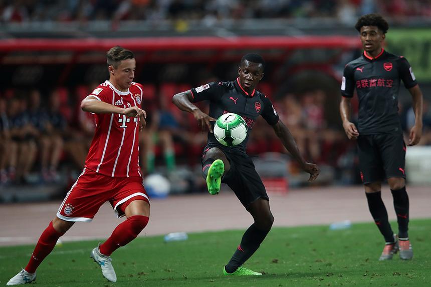 Eddie Nketiah in action for Arsenal against Bayern Munich
