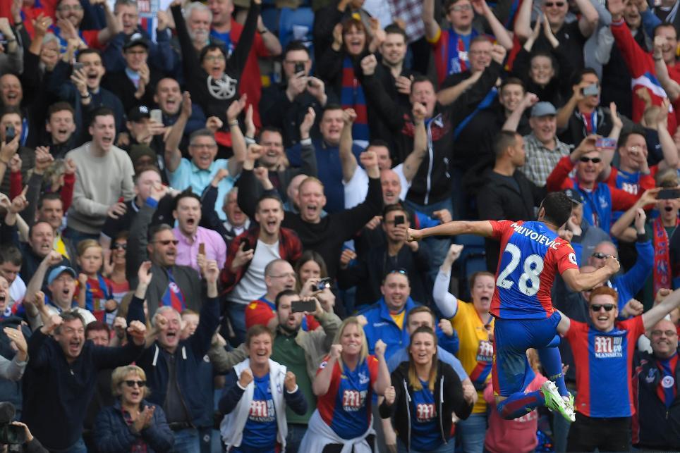 Crystal Palace's Luka Milivojevic celebrates scoring at Selhurst Park