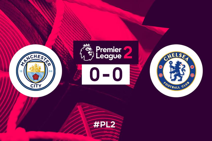 Graphic showing score of Man City 0-0 Chelsea, PL2