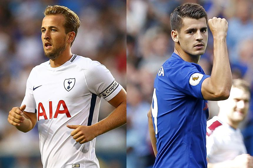 Harry Kane, of Spurs, and Chelsea's Alvaro Morata