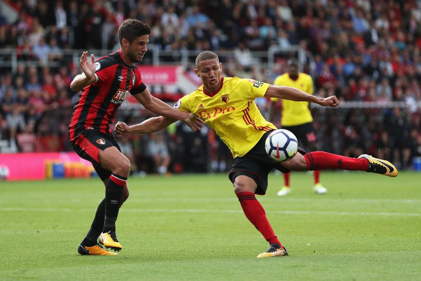 Watford's Richarlison takes a shot against AFC Bournemouth