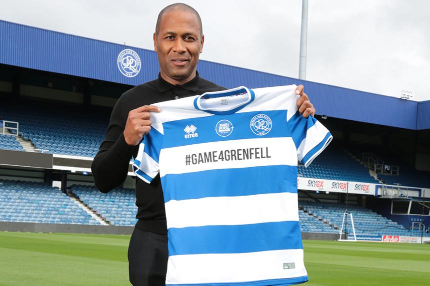 Les Ferdinand with the #Game4Grenfell shirt