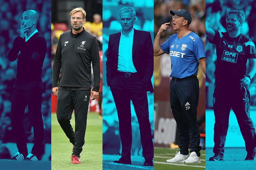 Nominees for August's Barclays Manager of the Month: Guardiola, Klopp, Mourinho, Pulis and Wagner