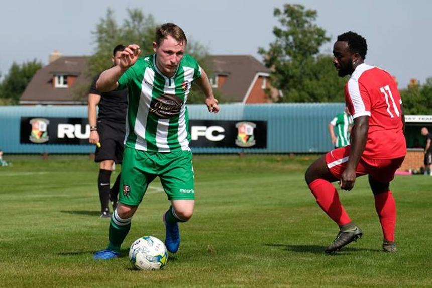 Action at Rusthall FC and their new pitch