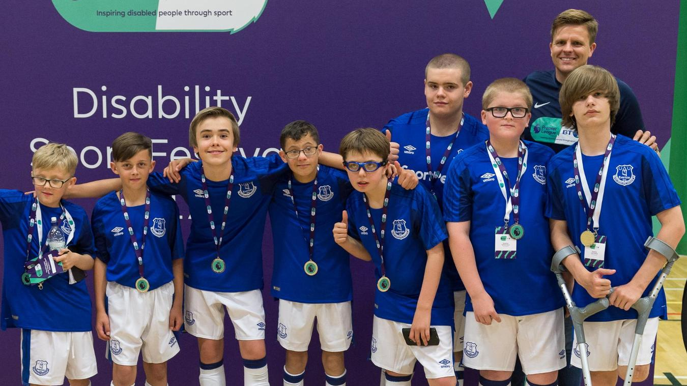 Everton in the Community team at the PL/BT Disability Sport Festival