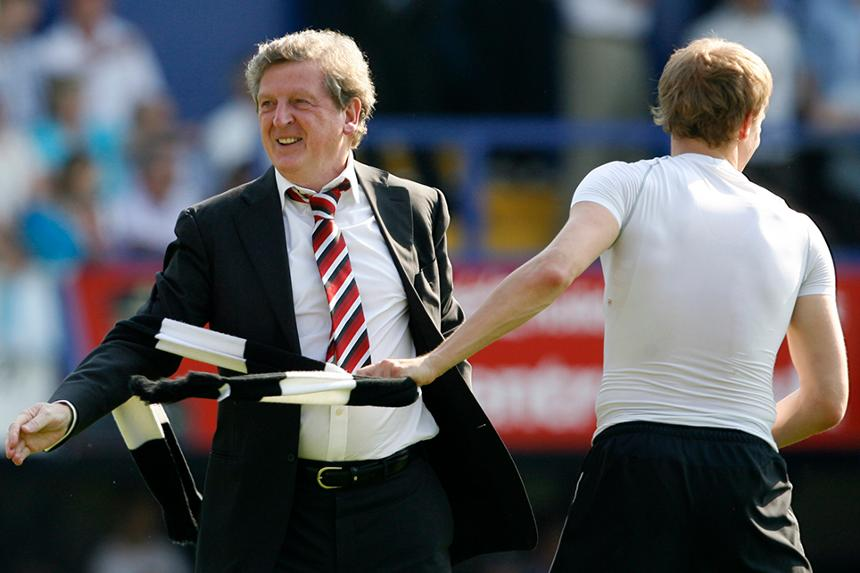Roy Hodgson celebrates Fulham's final-day safety in 2007/08