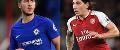 Eden Hazard, Chelsea, and Hector Bellerin, Arsenal