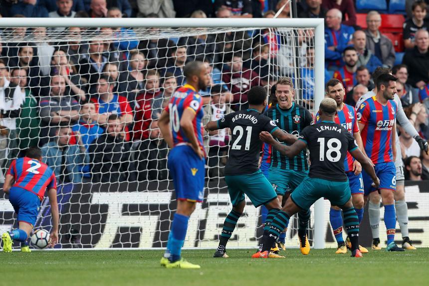 Steven Davis celebrates his goal against Palace