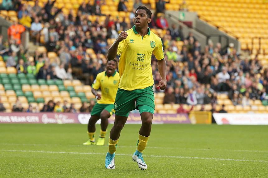 Tristan Abrahams celebrates his goal for Norwich City