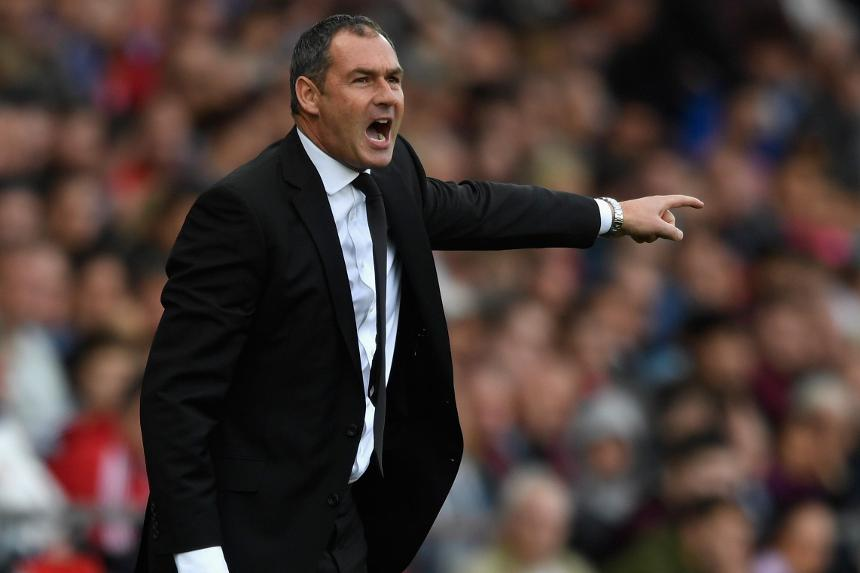 Swansea City manager Paul Clement on the touchlines
