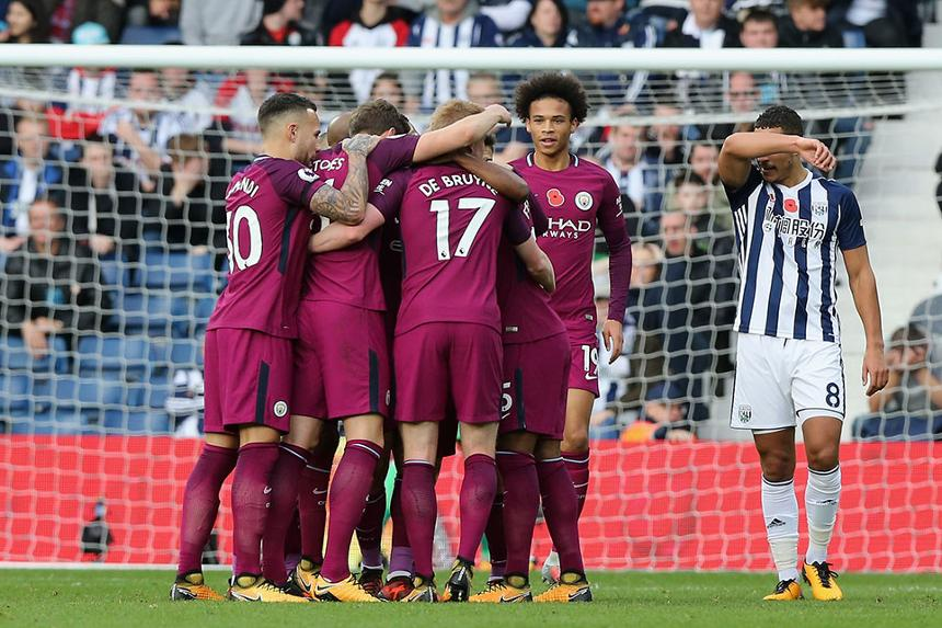 Nicolas Otamendi, John Stones, Kevin De Bruyne and Leroy Sane of Manchester City