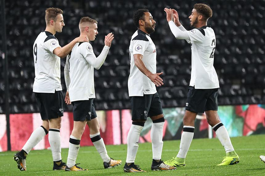 Derby County celebrate beating Wolfsburg in the International Cup