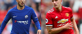 Eden Hazard, Chelsea, and Phil Jones, of Manchester United