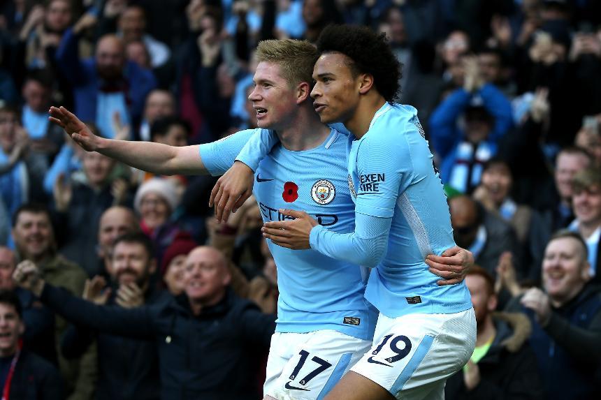 Manchester City v Arsenal - Kevin De Bruyne, Leroy Sane