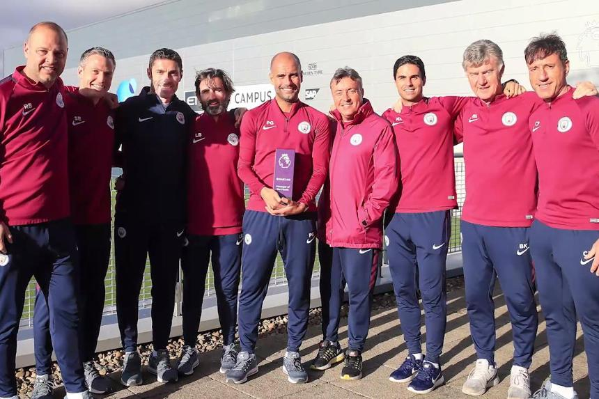 Pep Guardiola and his Manchester City coaching team