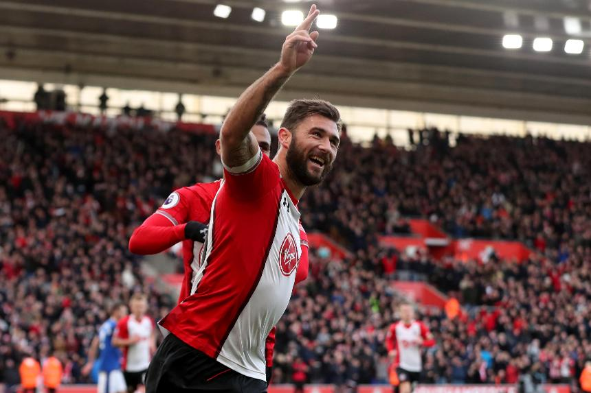 Southampton's Charlie Austin celebrates against Everton