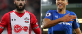 Charlie Austin, of Southampton, and Everton's Dominic Calvert-Lewin