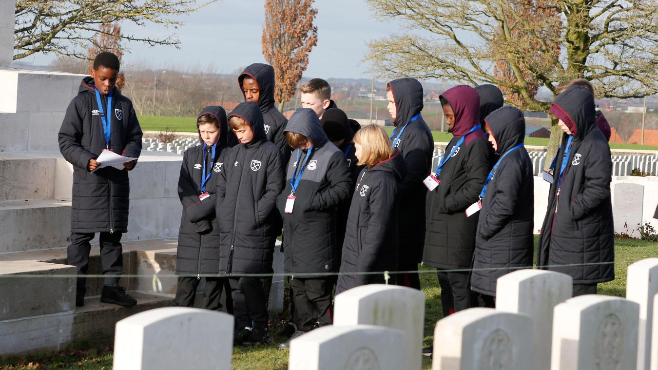 West Ham players read a poem at a cemetery in Ypres, Belgium